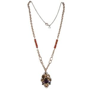 LOFT Necklace Purple Tan Beaded Pendant Long Chain